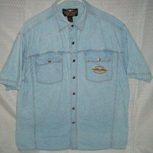 Shirt Harley-Davidson Men's XL S/S Lt. Blue Denim